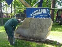 Jüriöö mälestusmärgi puhastamine, foto SodaBlastBaltic