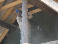 Uuest palgist palkmaja puhastamine soodaprtitsiga, foto SodaBlastBaltic